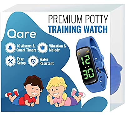 Premium Potty Training Watch - Only Watch with Multiple Alarms (16) to Fit Your Schedule & Easy to Use Smart Timer - Water Resistant - Vibration & Music - Charger Not Included-Video Manual Only(Blue) from Qare