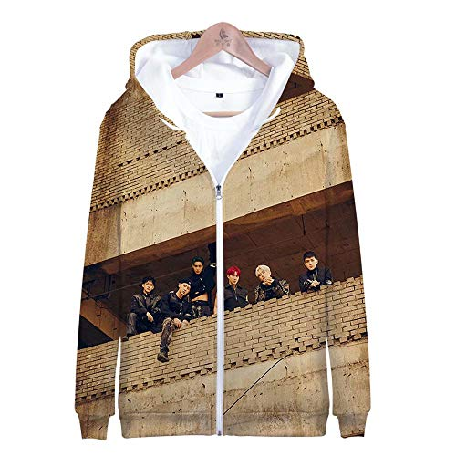 EXO Kpop Unisex Hoodie 3D Printed Jacket Baekhyun Chanyeol Xiumin Kai Casual Sweatshirt Fashion Outfit(12,L)