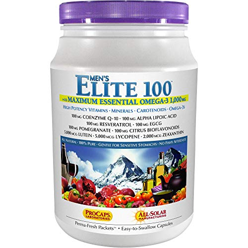 Andrew Lessman Multivitamin - Men's Elite-100 with Maximum Essential Omega-3 1000 mg 120 Packets – 40+ Potent Nutrients, Essential Vitamins, Minerals, Phytonutrients and Carotenoids. No Additives