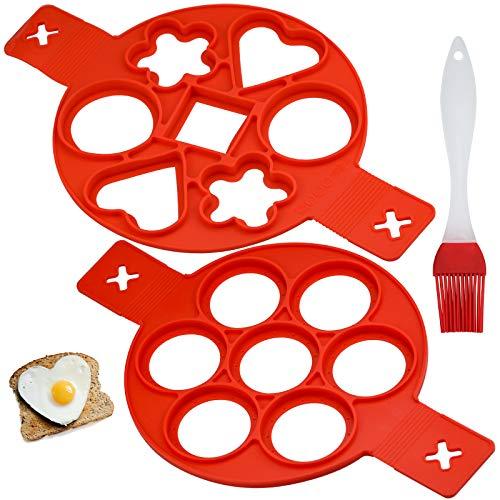 2 Piezas Pancake Moldes Silicona, Molde para Panqueques de Silicona Antiadherente Mini Molde de Panqueques con cepillo para Tortitas, Huevos Panqueques