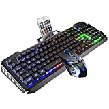 SADES ゲーム用キーボードとマウスコンボ ゲーミングマウスとキーボード カラフルなライトとマウスの有線キーボード 4種類の調節可能なDPI付き PC/ノートパソコン/MAC/win7/win8/win10用 マルチカラー NA
