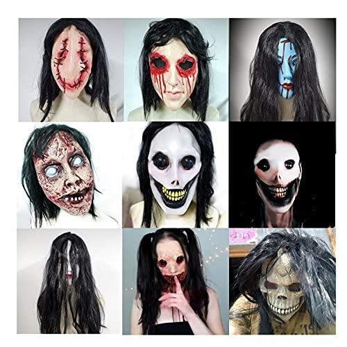 GGJIN Halloween Mascaras 18 Estilos Náusea Mascaras de Miedo Fantasma Cabeza Animal Talla única Mascara Vendetta Adecuado para Casa Embrujada Noche de Carnaval Pascua(Size:B)