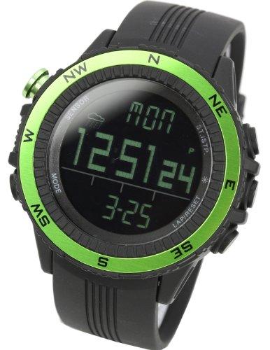 [ラドウェザー] アウトドア腕時計 ドイツ製センサー 高度計 気圧計 温度計 方位計 天気予測 登山 スポーツ時計 (グリーン(反転液晶))