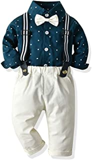 Moyikiss Studio Toddler Baby Boys Gentleman Outfits Infant Long Sleeve Stars Shirt+Suspender Pants+Bow Tie Suit