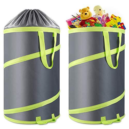 Hortem 2 Stück Pop-Up-Gartensack, faltbarer Mülleimer für Camping, 30 Gallonen großer Hofabfallbehälter mit Abflusslöchern und Kordeln für windige Tage