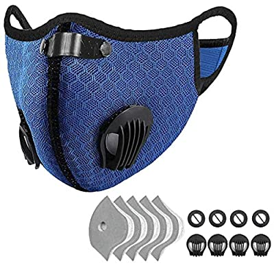 Outdoor Anti-dust Mask, PM 2.5 Windproof Cycling Facemask Washable Face Cover for Outdoor, Sports, Motorcycles (Blue) from JJUYUUA
