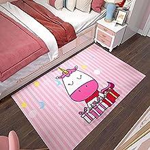 ZSDFPW Alfombra De áRea Unicornio Animal Rosa Blanco Estrella Media Luna Alfombra de Lana para Sala,Dormitorio,Fácil de Limpiar,Superficie Suave Alfombra Antideslizante 160 x 230 cm