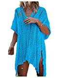 Wander Agio Beach Swimsuit for Women Sleeve Coverups Bikini Cover Up Net Slit Lake Blue,OneSize