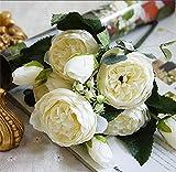 SDCVRE Fleur Artificielle 2018 Soie Rose Pivoine Artificielles Fleurs Belle Flores Bouquet pour la Maison De Mariage Décoration Faux Fleurs A49B25, A49,3