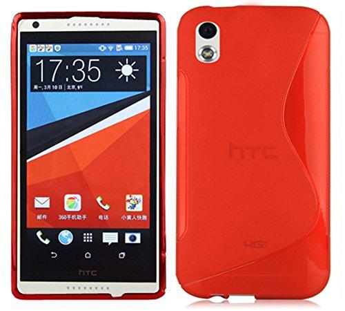 Cadorabo Hülle für HTC Desire 816 - Hülle in Inferno ROT – Handyhülle aus flexiblem TPU Silikon im S-Line Design - Silikonhülle Schutzhülle Soft Back Cover Case Bumper