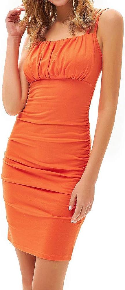 GRACE KARIN Women's Sexy Bodycon Party Dresses Spaghetti Strap Ruched Mini Club Dress