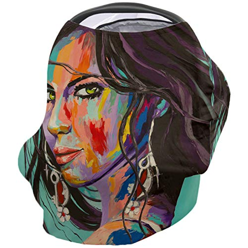 Car Seat Covers Nursing Cover, Cool Girl with Long Hair Earring Oil Painting Art Stretchy Breastfeeding Scarf High Chair Cover Infant Carrier Cover Baby Shower Gifts