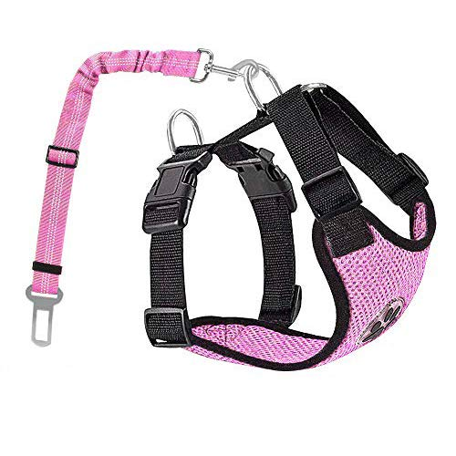 AUTOWT Dog Safety Vest Harness, Pink Dog Car Harness Pet Puppy Safety Seatbelt Breathable Mesh Fabric Vest with Adjustable Strap for Travel and Daily Use in Vehicle for Doggie Cats (S, Pink)