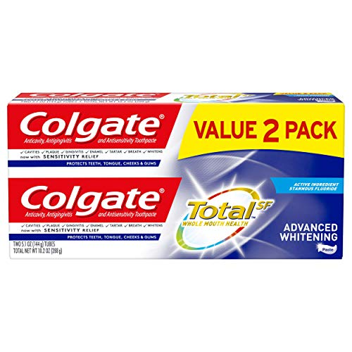 Colgate Colgate Total Advanced Whitening Toothpaste with Fluoride, Multi Benefit Toothpaste with Sensitivity Relief and Cavity Protection - 5.1 ounce (2 Pack), 5.1 Ounce (Pack of 2), 10.2 Ounce