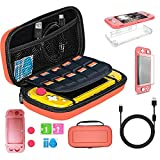 TSBEAU Protective Nintendo Switch Lite Carrying Case With Card Slots, TPU Case Cover, PU Hard Case Cover, Tempered Glass Screen Protector, USB Cable, Thumb Stick Caps & Accessories, Coral