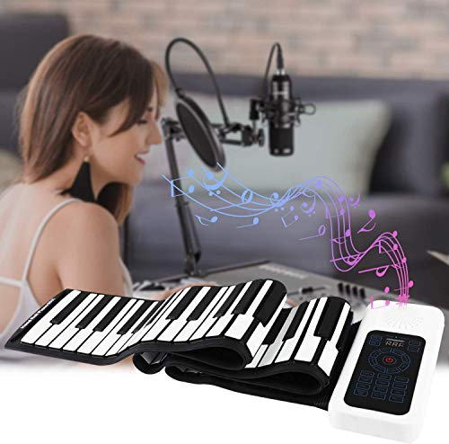 Roll up Piano Hollee 88 Keys Portable Piano with Sustain Pedal Environment Silicone Keyboard Built-in Battery Hand Roll Piano 128 Rhythms 128 Tones MIDI for Kids Children Beginners Entertainment