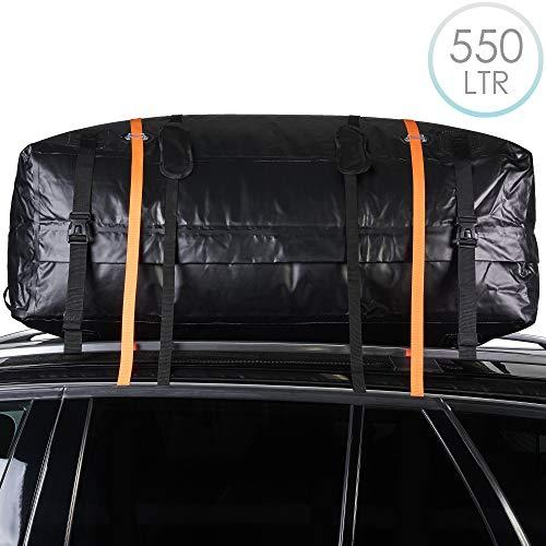 Auto Dachbox Dachtasche, Dachgepäckträger-Tasche, 550L - Schwerlast, Faltbare & Wasserdicht - Fahrzeug Gepäckbox für Reisen, Transport, Aufbewahrung - Inklusive Rutschfester Matte und Gurte.