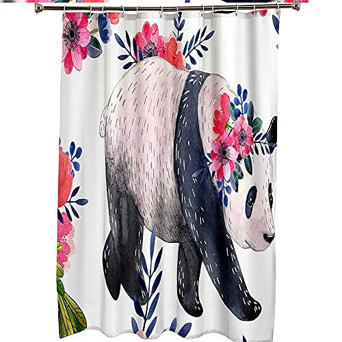 XTKNSX Duschvorhang Hohe Qualität Anti-Schimmel Duschvorhäng Aus Polyester 3D Digitaldruck Pandas Girlande 150*180cm Wasserabweisend Anti-Bakteriell Duschvorhänge Für Badewanne