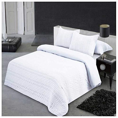 Funda Nordica Seersucker Blanco. Cama de 105 (180 X 220 cm). Tejido BAMBULA. Color Blanco. Cierre con Cremallera