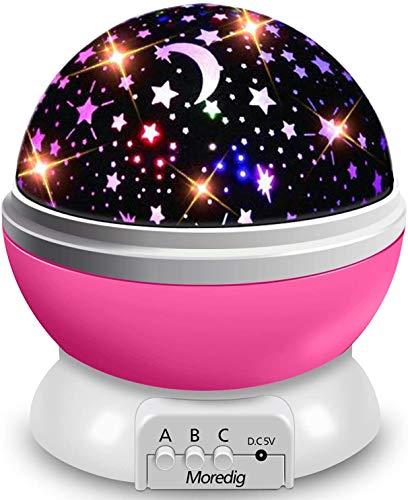 Lámpara de noche con proyector de cielo estrellado, luz de bebé con rotación de 360°, lámpara de luz de estrellas con proyección de 8 luces de colores, regalo perfecto para bebés y niños, color rosa