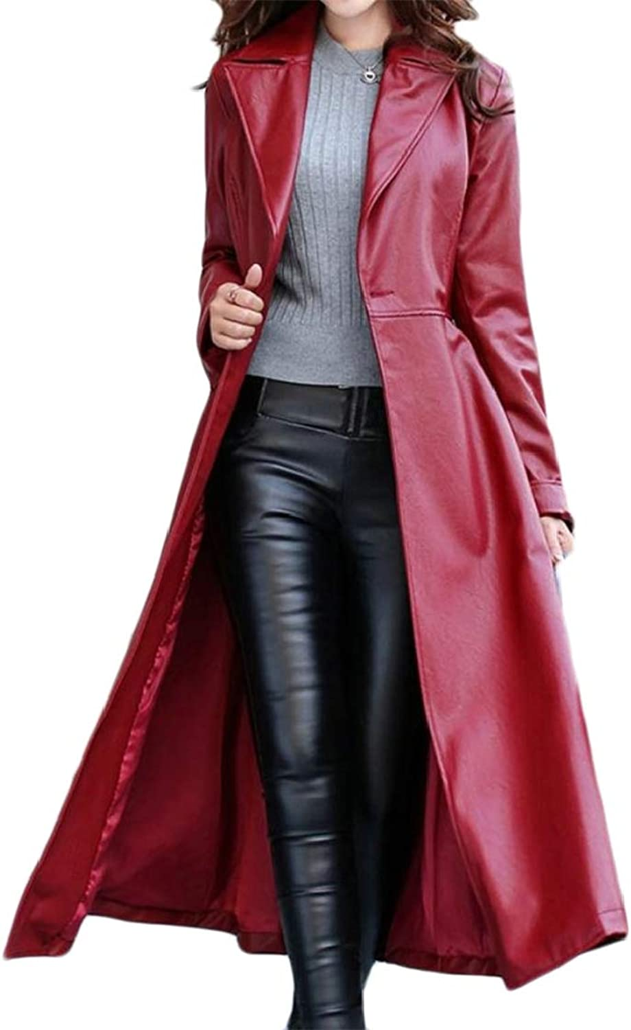 Etecredpow Womens MidLength Outdoors Swing Belt Faux Leather Warm Fall Winter Lapel Trench Coat