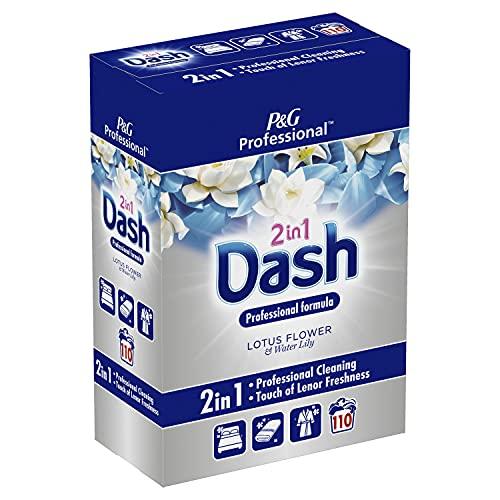 Dash Professionnel, P&G Professional, Lessive en Poudre 2 En 1, Plus besoin de séparer le blanc du colorés, Libère son parfum Fleur De Lotus et Lys après 12h, 7,15 kg , (110 Lavages)