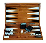 Deluxe Wood 18' Lacquered Backgammon Board Game Set with Premium Leather Dice Cups and Acrylic Game Chips