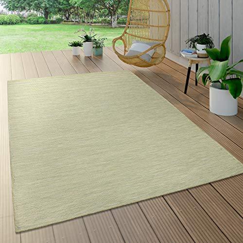 Paco Home Tapis Intérieur & Extérieur pour Salon Balcon Terrasse Tissé À Plat Vert, Dimension:160x220 cm