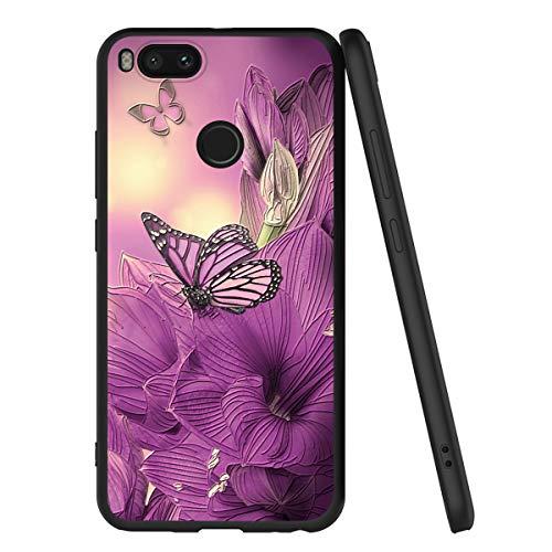 Yoedge Funda Xiaomi Mi A1, Ultra Slim Cárcasa Silicona Negro con Dibujos Animados Diseño Realzar Patrón 360 Bumper Case Cover para Xiaomi Mi A1,Mariposa