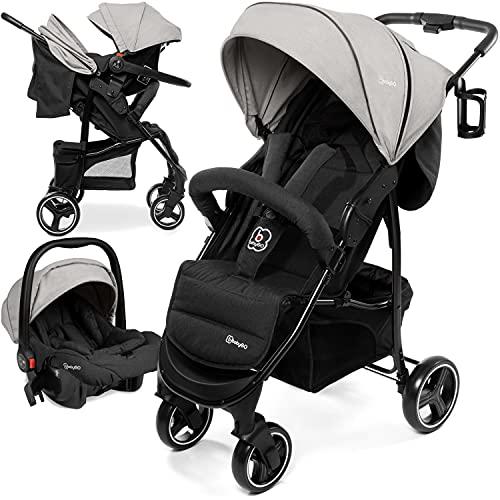 babyGO Basket Kinderwagen 2 in 1 - Buggy - Kombikinderwagen mit Babyschale - Einfaches zusammenklappen - mit Praktischer Tasche und Flaschenhalter (Hellgrau Melange-mit Babyschale)