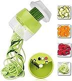 TTESOPG Handheld Spiralizer Vegetal Fruit Slicer Ajustable Spiral Raller Cutter Herramientas de Ensalada Zucchini Fideos Maker Accesorios de Cocina Picar Frutas Verduras Zanahorias (Color : Green)