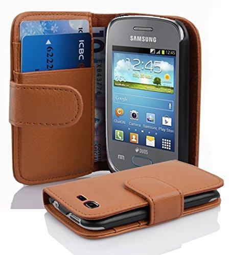 Cadorabo Samsung Galaxy Pocket Neo Funda de Cuero Sintético Estructura en MARRÓN Cognac Cubierta Protectora Estilo Libro con Cierre Magnético, Tarjetero y Función de Suporte Etui Case Cover Carcasa