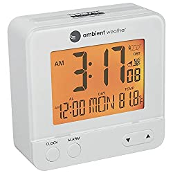 Ambient Weather RC-8300-WHITE Atomic Travel Compact Alarm Clock with Auto Night Light Feature