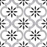 MS International Azila 8 in. x 8 in. Encaustic Matte Porcelain Wall Tile for Bathroom, Floor Tile, Kitchen Backsplash and Countertop Tile, White,Black,Gray (AMZ-PT-00100)