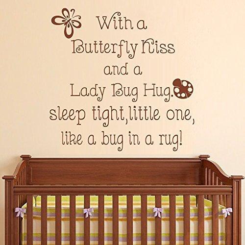 Calcomanía de pared para guardería, con un beso de mariposa y un abrazo de mariquita, decoración de habitación de niños, calcomanía de vinilo para habitación de bebé (negro, 34 pulgadas x 34 pulgadas).