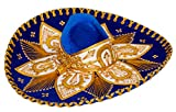Threads west Premium Adult Mariachi Charro Hat (Blue and Gold)
