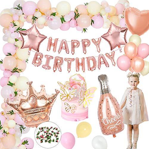 MMTX Decoraciones de Fiesta de Cumpleaños Oro Rosa, Globos Cumpleaños Pancarta de Feliz Cumpleaños, Pastel de Bricolaje, 50pcs Globos de Látex Globos de Lámina de 5pcs para Niñas y Mujeres