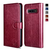 OCASE Samsung Galaxy S10 Case [ Card Slot ] [ Kickstand ] [TPU Shockproof Interior ] Leather Flip Wallet Case for Samsung Galaxy S10 Devices (Burgundy)