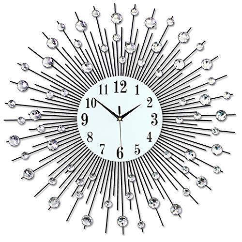 SZ JIAOJIAO Moderne Kristall Diamant Wanduhr Runde Uhr Stummschaltung Metalluhr Wohnzimmer, Schlafzimmer, Haus Wandkunstdekoration,75 * 75CM