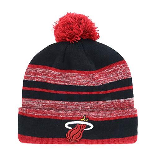 OTS NBA Miami Heat Men's Huset Cuff Knit Cap with Pom, Team Color, One Size