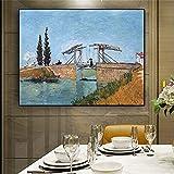 Cuadro de pared de lienzo Puente de Langlois abstracto en Arles Van Gogh reproducción de pintura al óleo sobre lienzo carteles e impresiones decoración de sala de estar Sin marco 50x70cm(20x28in) 1pcs