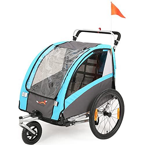 SEPNINE 2 In 1 FahrradanhäNger FüR Kinder Zweisitzer Kinder Trolley Faltbar Mit Handbremse (Blau)