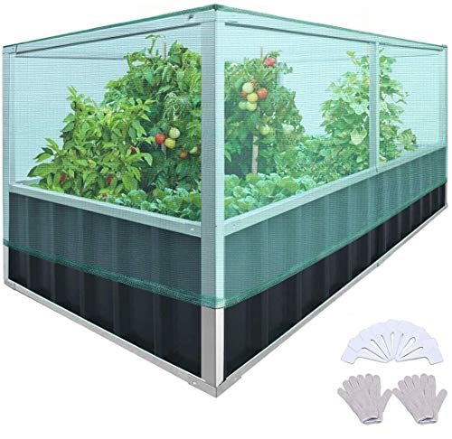 """KING BIRD Raised Garden Bed with Garden Anti Bird Protection Netting Structure 68""""x36""""x27.5"""" Galvanized Steel Metal Planter Kit Box with 8pcs T-Type Tags & 2 Pairs of Gloves Dark Grey"""