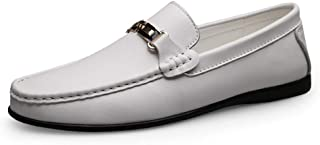 HaiNing Zheng Drive Loafer for Men Boat Moccasins Slip On Style OX Leather Fashion Metaldecor Touchy Cortex (Color : White, Size : 5 UK)