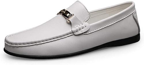 Chaussures Homme Mocassins 2019 Hommes Mocassins En Cuir Couleur Pure Noir Blanc Chaussures Pour Hommes Conduisant Mocassins Bateau Mocassins Slip On Style OX En Cuir De Mode Metaldecor Délicat Cortex