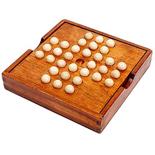 [moonfarm] 木製 ペグソリティア ボールソリティア ボードパズル ボード ボール ゲーム クラシックパズル 一人遊び 子供 玩具 おもちゃ 球 遊び (2個セット)