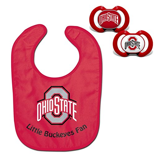 NCAA Official Fan Shop Authentic Baby Pacifier and Bib Set. Start The Little Ones Out Early in Joining The Fan Club and Show College Support (Ohio State Buckeyes)