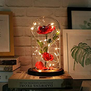 URBANSEASONS Beauty and The Beast Rose ,Rose Kit Red Silk Rose and Led Light with Fallen Petals in Glass Dome on Wooden Base Valentine s Day Anniversary Birthday