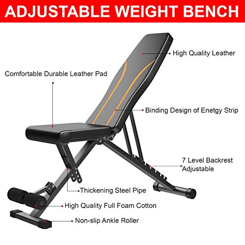 Adjustable Weight Bench, Foldable Workout Bench for Full Body Workout,Strength Training Fitness Bench Multi-Purpose,Portable Flat/Incline/Decline Exercise Bench for Home Gym