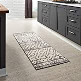 Maples Rugs Abstract Diamond Modern Distressed Non Slip Runner Rug For Hallway Entry Way Floor Carpet [Made in USA], 2 x 6, Neutral